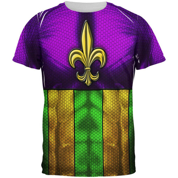 Mardi Gras Drinking Champion Superhero Costume All Over Mens T Shirt
