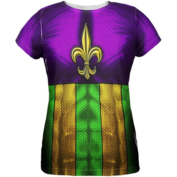 Mardi Gras Drinking Champion Superhero Costume All Over Womens T Shirt