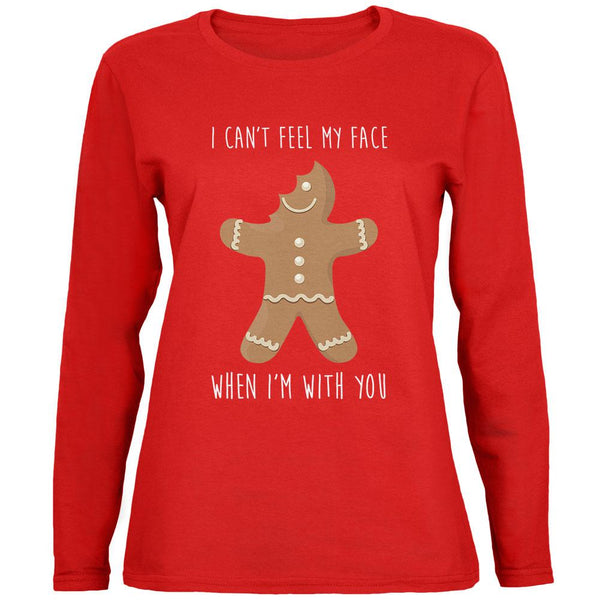 Christmas Gingerbread Man Can't Feel My Face Womens Long Sleeve T Shirt