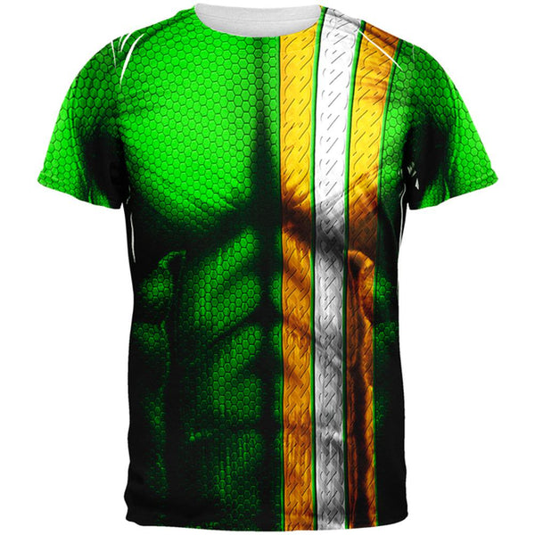 St Patrick's Day Irish Champion Superhero Costume All Over Mens T Shirt