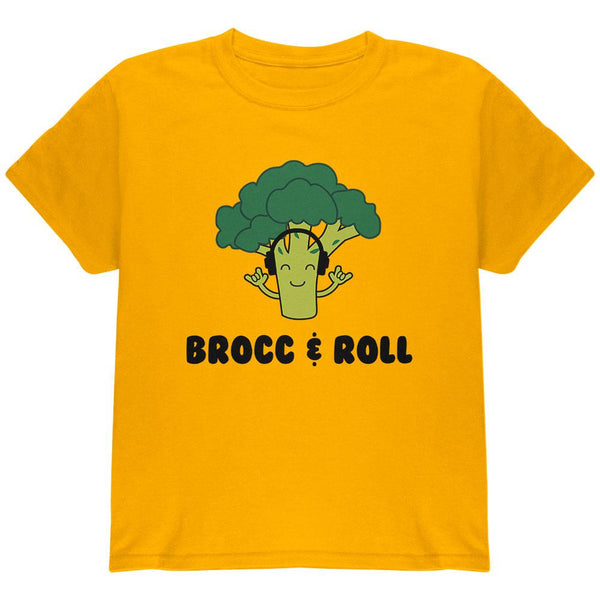 Vegetable Broccoli Rock Brocc and Roll Funny Youth T Shirt