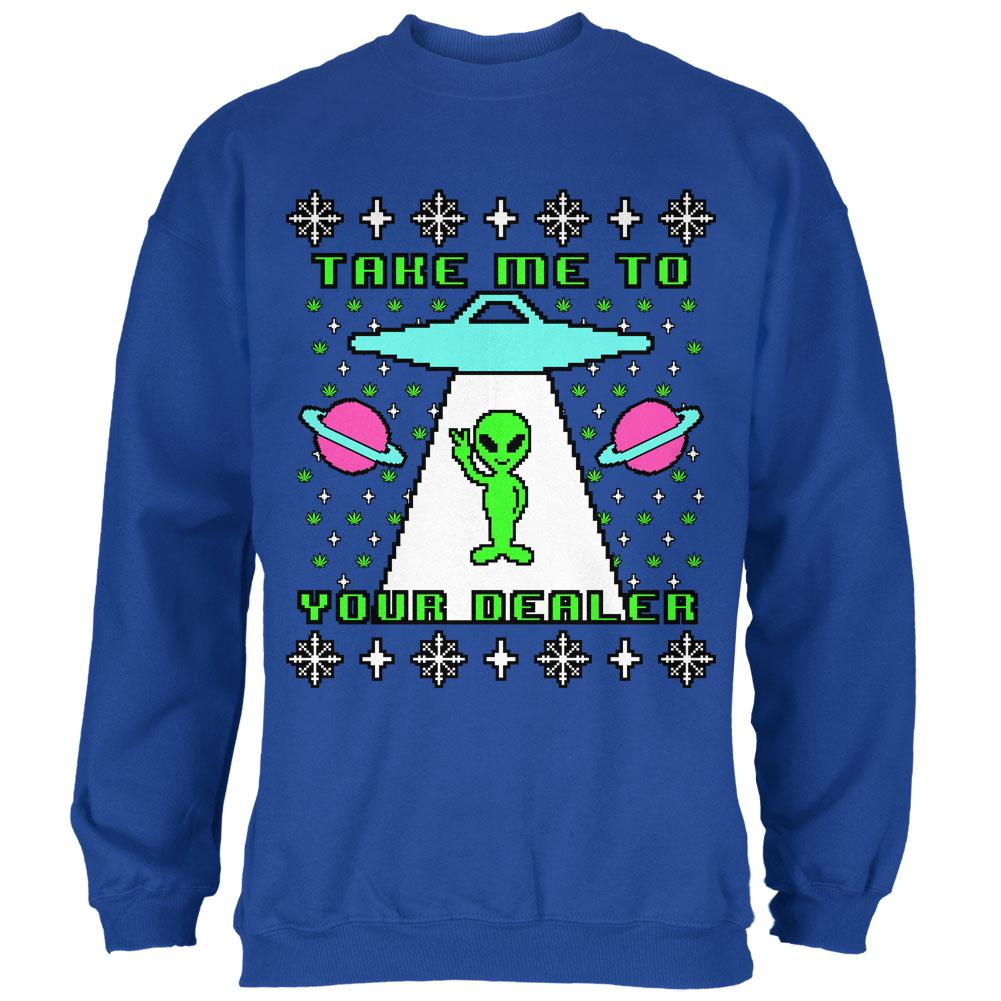 Alien Take Me to Your Dealer Ugly Christmas Sweater Mens Sweatshirt ...