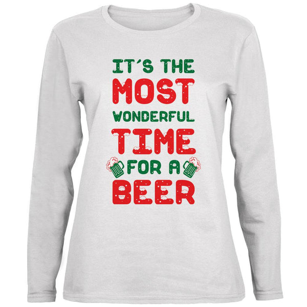 Christmas Most Wonderful Time for a Beer Ladies' Relaxed Jersey Long-Sleeve Tee