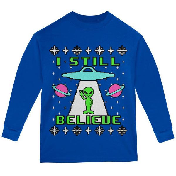 Alien I Still Believe Ugly Christmas Sweater Youth Long Sleeve T Shirt