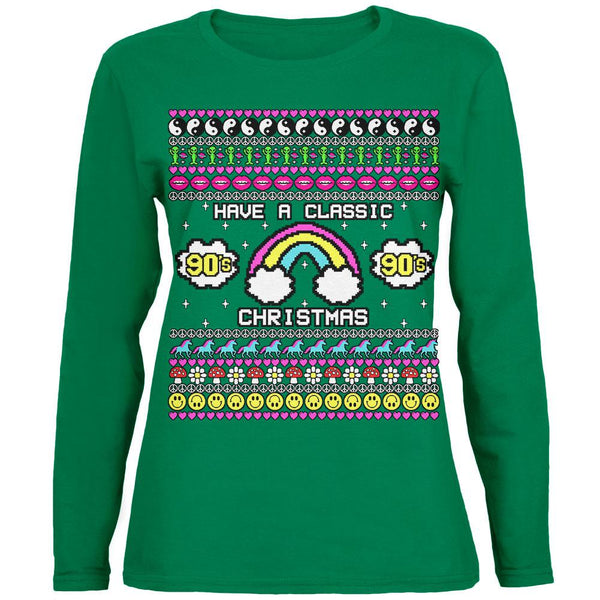 Retro 90s Nostalgia Classic Ugly Christmas Sweater Womens Long Sleeve T Shirt