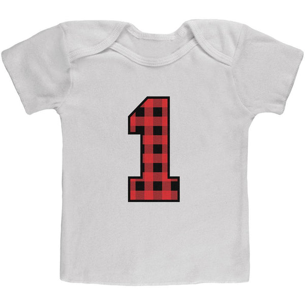 Birthday Kid Lumberjack Plaid 1 1st First Baby T Shirt