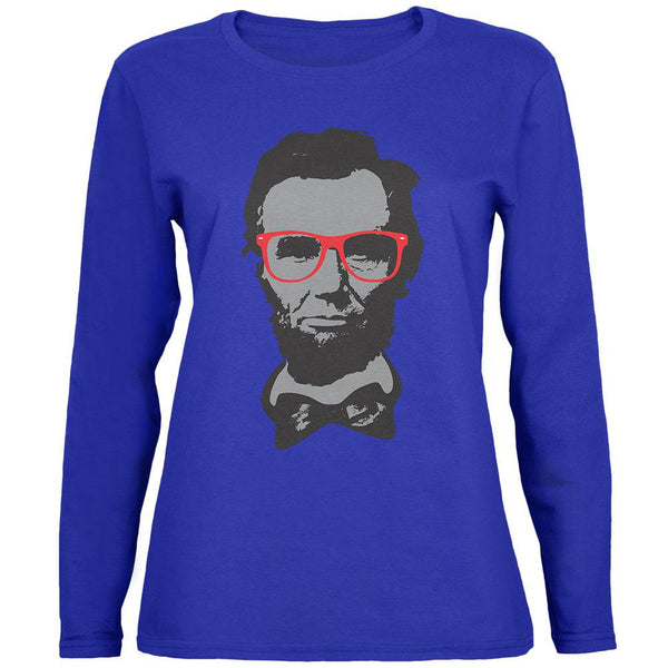 Abraham Lincoln Hipster Geek Glasses Womens Long Sleeve T Shirt