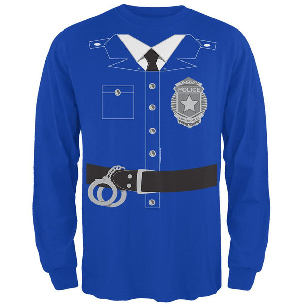 Halloween Policeman Costume Mens Long Sleeve T Shirt