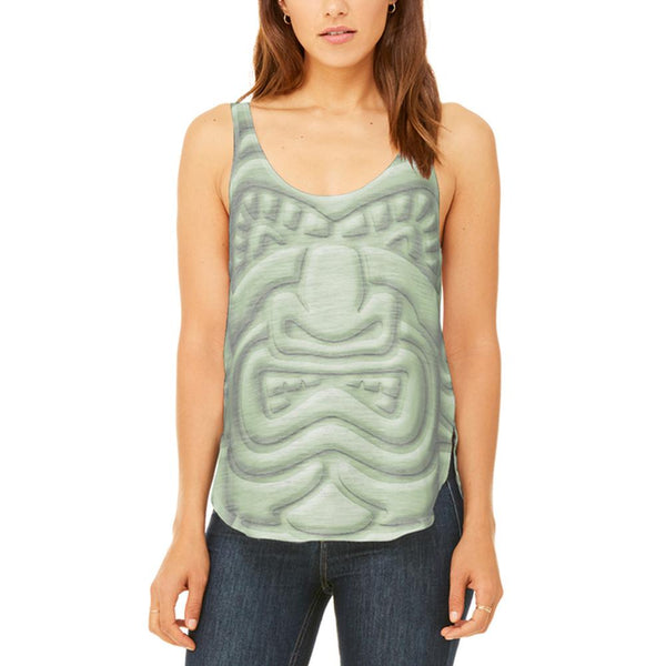Tiki God Green Face Luau Juniors Flowy Side Slit Tank Top