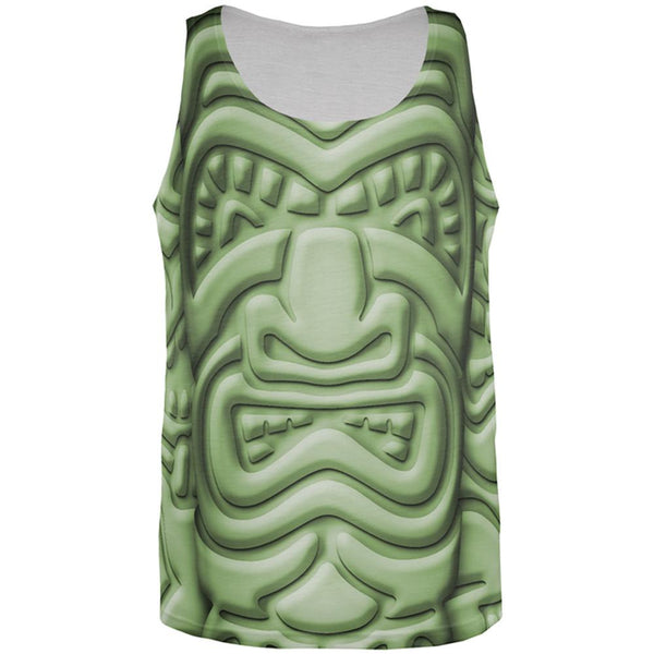 Tiki God Green Face Luau All Over Mens Tank Top