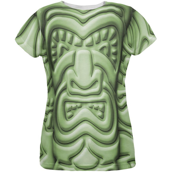 Tiki God Green Face Luau All Over Womens T Shirt
