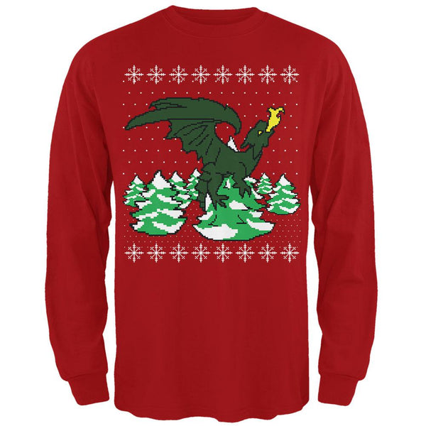Ugly Christmas Sweater Dragon Winter Mens Long Sleeve T Shirt