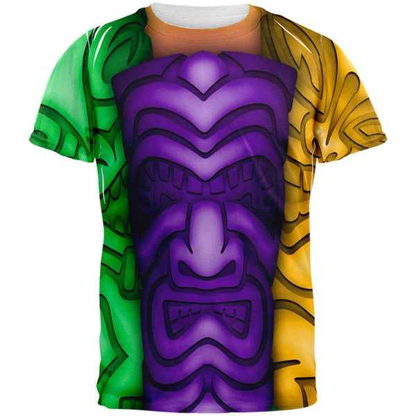 Mardi Gras Tiki Glass Party All Over Mens T Shirt