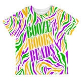 Mardi Gras Booze Boobs Beads Zebra Costume All Over Toddler T Shirt