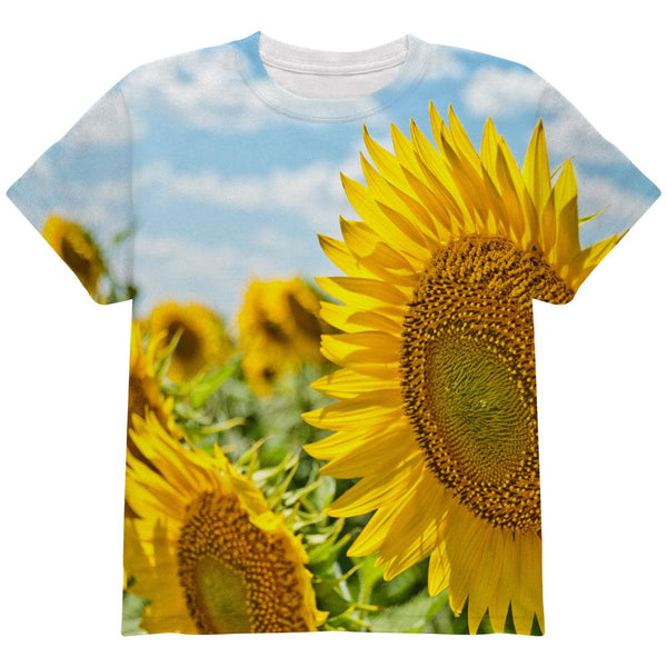 Sunflower Fields All Over Youth T Shirt