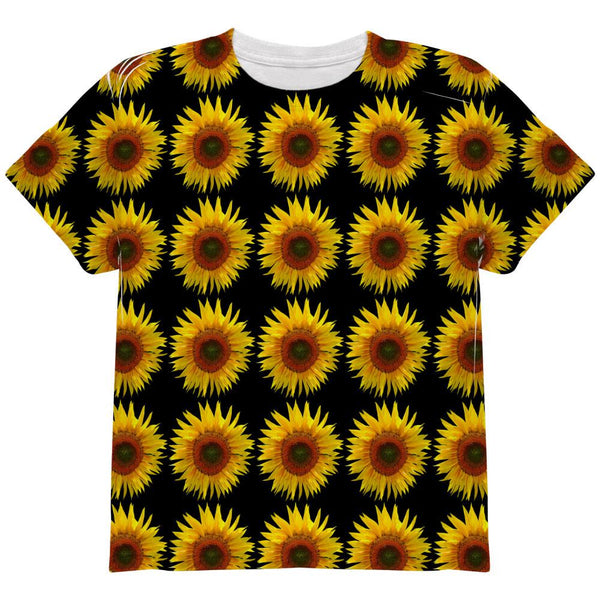 Sunflower Pattern All Over Youth T Shirt