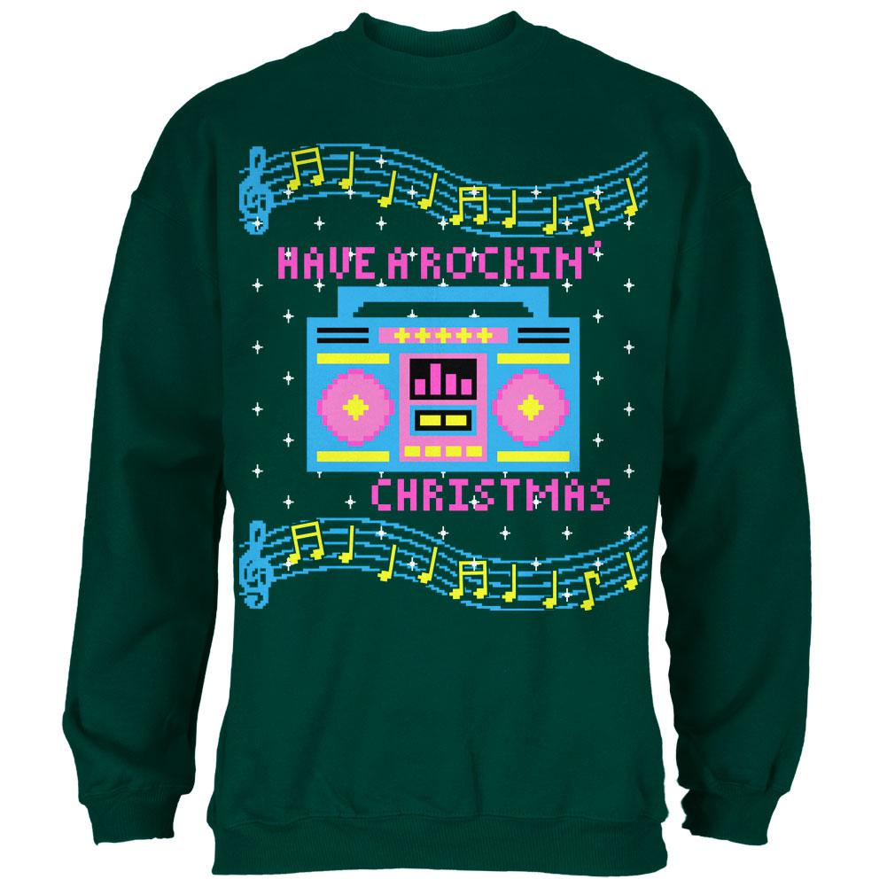 Retro Boombox Music Have A Rockin Ugly Christmas Sweater Mens