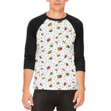 Junk Food Pattern Mens Raglan T Shirt