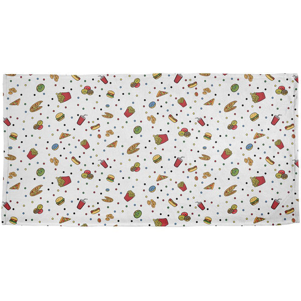 Junk Food Pattern All Over Bath Towel