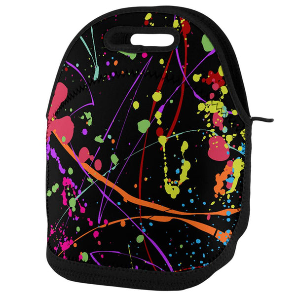 Splatter Paint Black Lunch Tote Bag