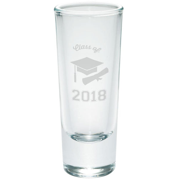 Graduation - Class of 2018 Cap and Diploma Etched Shot Glass Shooter