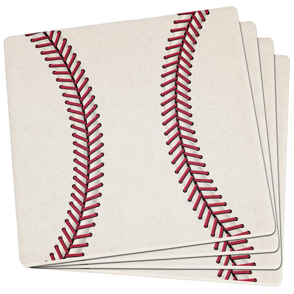 Baseball Set of 4 Square Sandstone Coasters