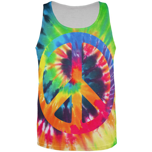 Peace Sign Tie Dye All Over Mens Tank Top