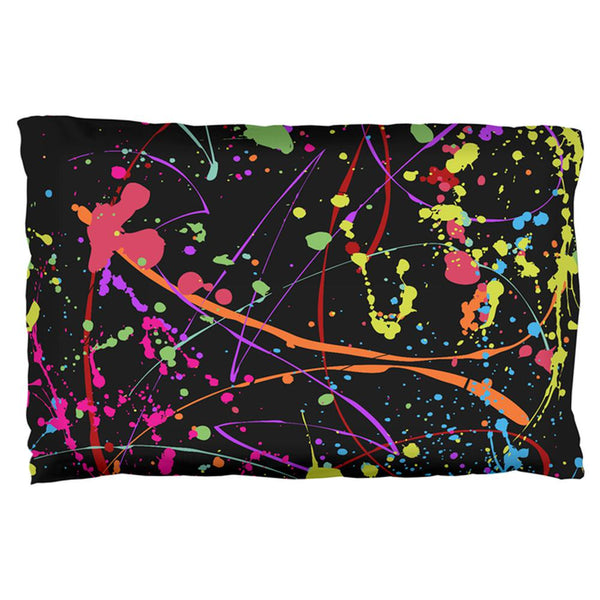 Splatter Paint Black Pillow Case