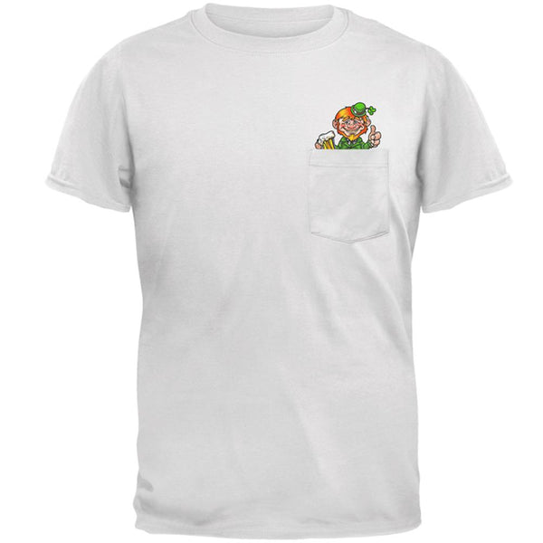 St Patrick's Day Lucky Little Leprechaun Pocket Pet Mens Pocket T Shirt