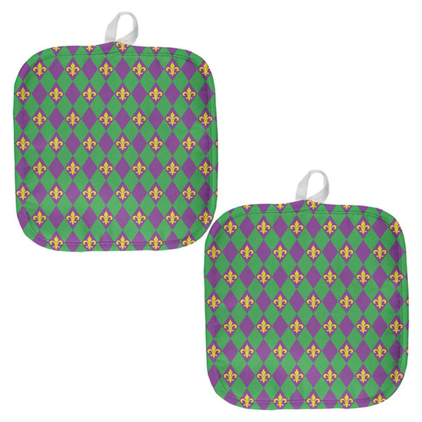 Mardi Gras Fleur De Lis All Over Pot Holder (Set of 2)