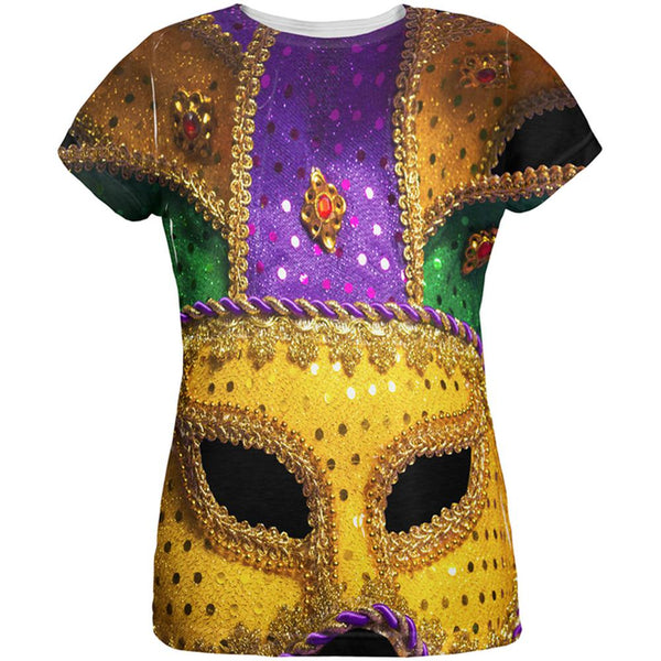 Mardi Gras Mask All Over Womens T Shirt