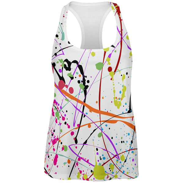Splatter Paint White All Over Womens Work Out Tank Top