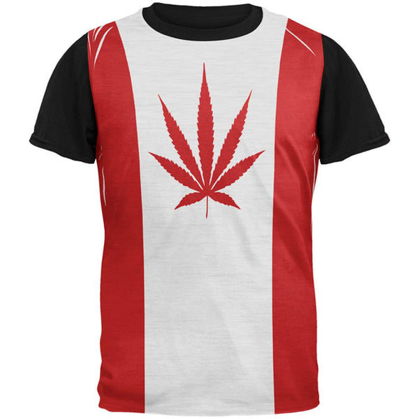 Canada Flag Pot Leaf Marijuana All Over Mens Black Back T Shirt