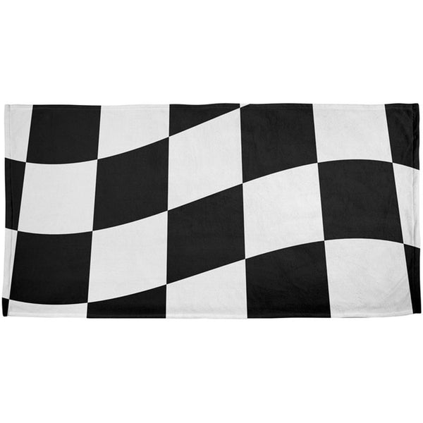 Finish Line Checkered Flag Wave All Over Beach Towel