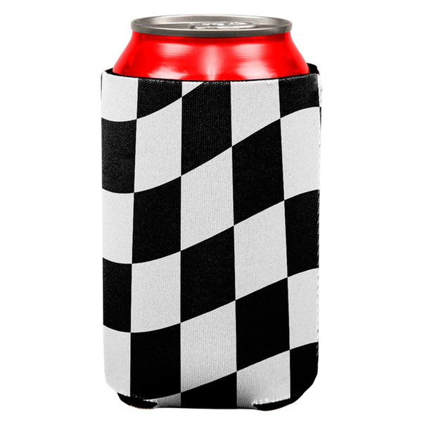 Finish Line Checkered Flag Wave All Over Can Cooler