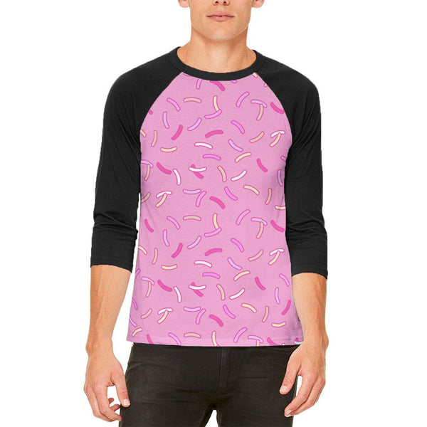 Pastel Strawberry Sprinkles Mens Raglan T Shirt