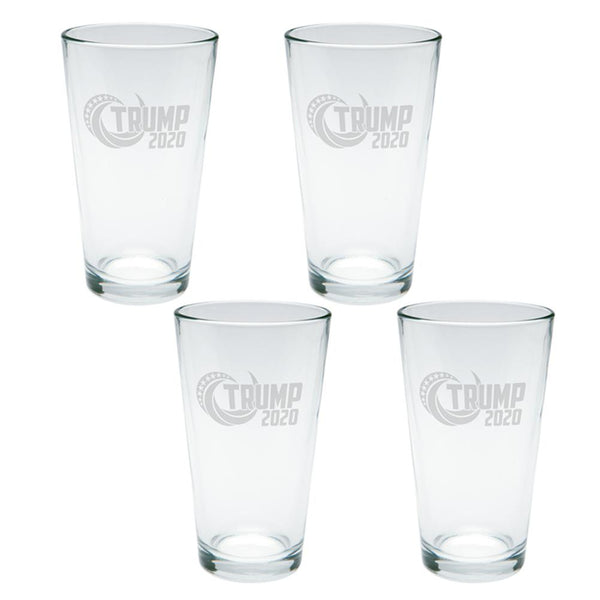 Election Re-Elect Donald Trump 2020 Swoosh Etched Pint Glass Set of 4