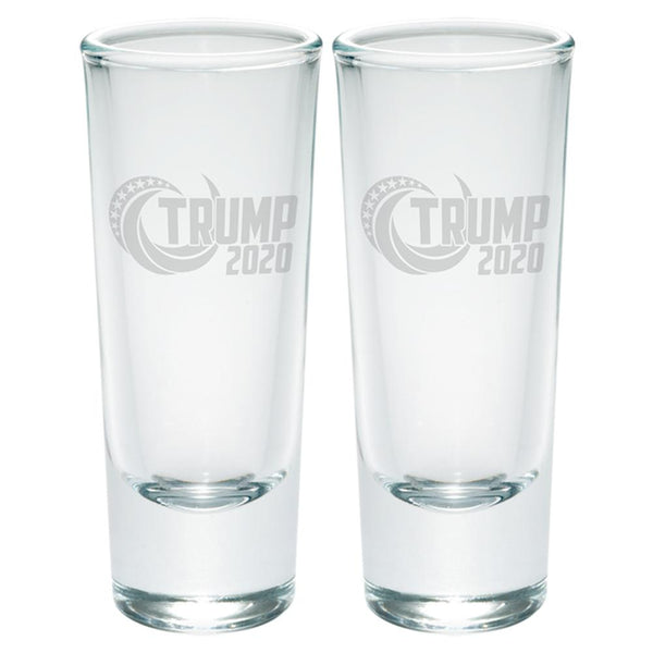 Election Re-Elect Donald Trump 2020 Swoosh Etched Shot Glass Shooter Set of 2