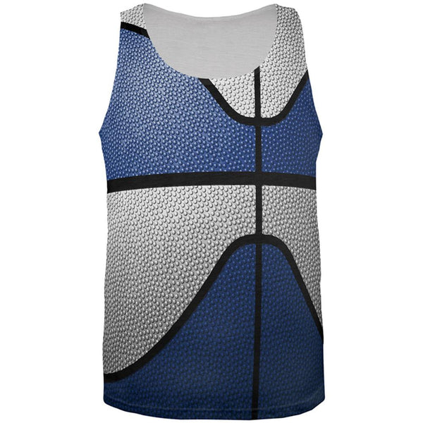 Championship Basketball Navy Blue & White All Over Mens Tank Top