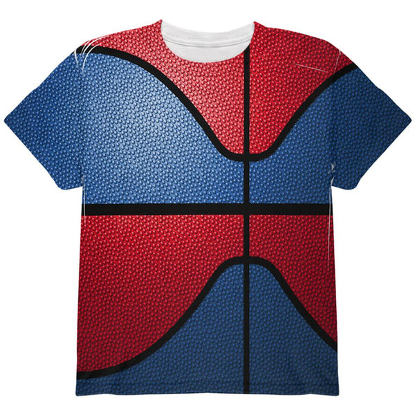Championship Basketball Royal Blue & Red All Over Youth T Shirt