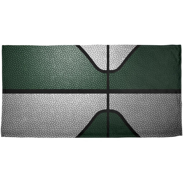 Championship Basketball Forest Green & White All Over Beach Towel