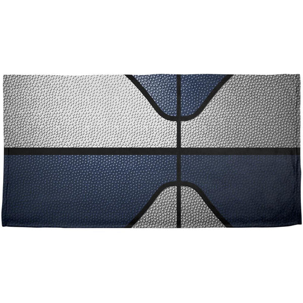 Championship Basketball White & Navy Blue All Over Beach Towel