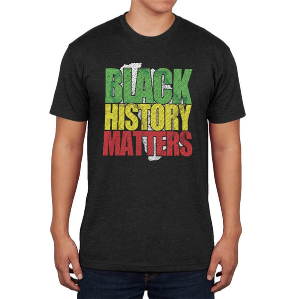 Black History Matters Old School Distressed Mens Soft T Shirt