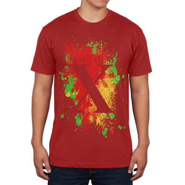 Malcolm X Abstract Splatter Mens T Shirt