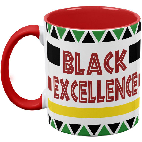 Black History Month Excellence Pan African Colors Red Handle Coffee Mug