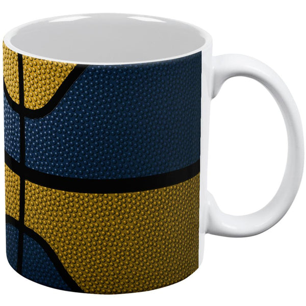 Championship Basketball Navy & Gold All Over Coffee Mug