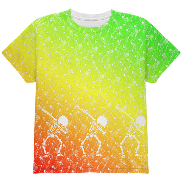 Cinco De Mayo Dancing Dabbing Skeletons All Over Youth T Shirt
