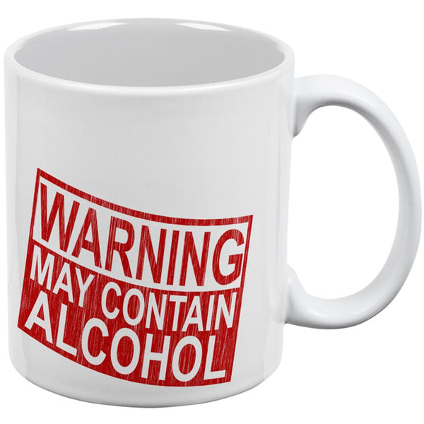 Warning May Contain Alcohol All Over Coffee Mug