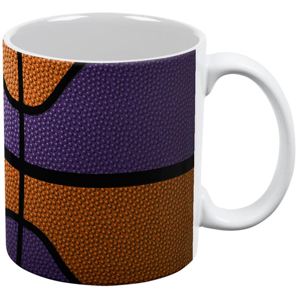 Championship Basketball Orange & Purple All Over Coffee Mug