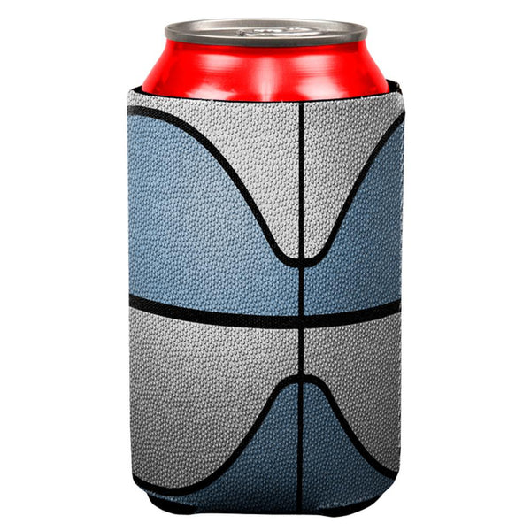 Championship Basketball Light Blue & White All Over Can Cooler